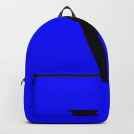 v (BLACK & BLUE LETTERS) Backpack