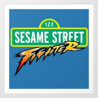 sesame street Art Prints featuring Sesame Street Fighter by Franz24