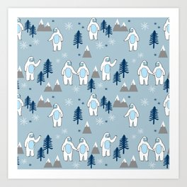 Yeti winter christmas cute forest pattern kids nursery holiday gifts Art Print