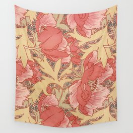 William Morris Poppies Floral Art Nouveau Pattern Wall Tapestry