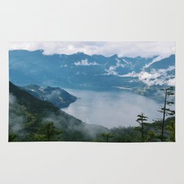Fog over the water in Squamish BC Rug