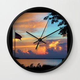 Sunset with Flag Wall Clock