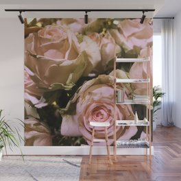 Shabby Chic Soft Peach-Pink Roses Wall Mural