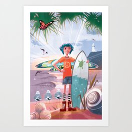 The Adventures of Lola and the Ocean Monster Art Print