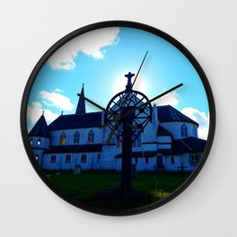 Old Church and Grave marker Wall Clock