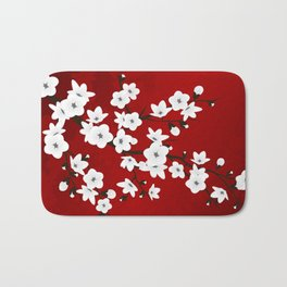 Red Black And White Cherry Blossoms Bath Mat