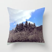 forrest Throw Pillows featuring Christmas forrest by Shitmonkey