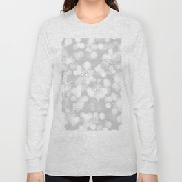 Christmas Snowflakes Bokeh Silver Pattern Long Sleeve T-shirt