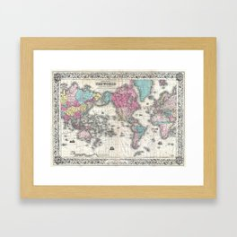 1852 J.H. Colton Map of the World Framed Art Print