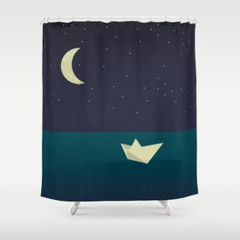 paper boat in the moonlight Shower Curtain