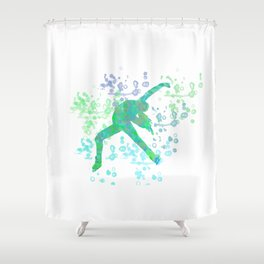 Figure Skater  Watercolor Design Style 2 Shower Curtain