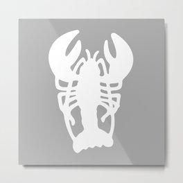 Grey Lobster Pattern Metal Print