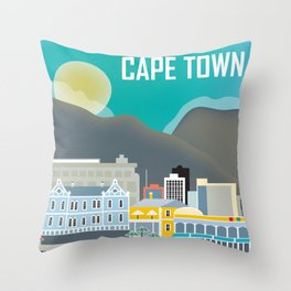 Cape Town, South Africa - Skyline Illustration by Loose Petals Throw Pillow