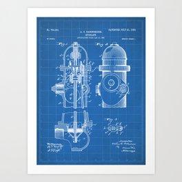 Fire Fighter Patent - Fire Hydrant Art - Blueprint Art Print