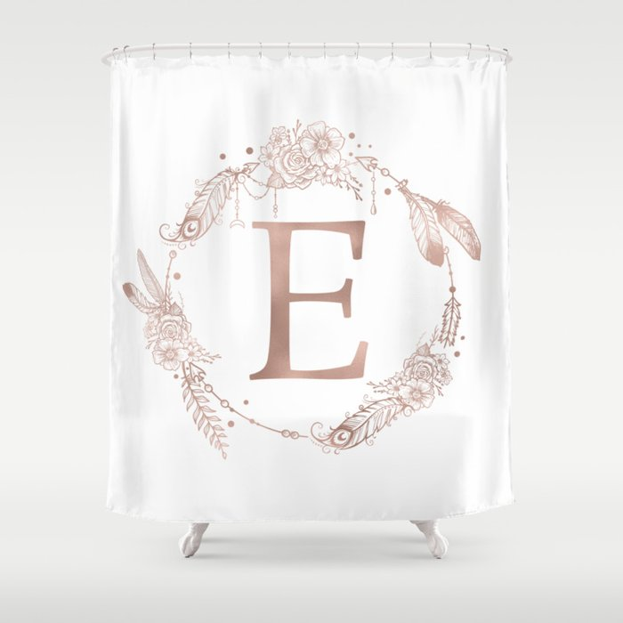 Letter E Rose Gold Pink Initial Monogram Shower Curtain