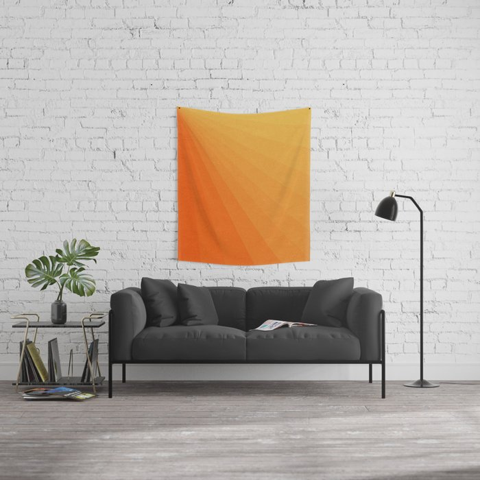 Shades of Sun - Line Gradient Pattern between Light Orange and Pale Orange Wall Tapestry