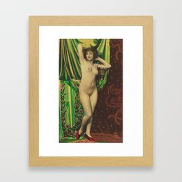 Victorian Vintage Posing Lady Erotic French Nude Postcard Framed Art Print