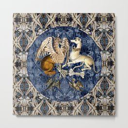 Tudor Pattern Book Gryphon and Greyhound Metal Print