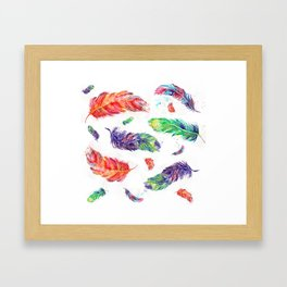 Feathers birds abstract watercolor prints Framed Art Print