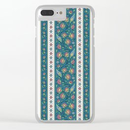 Floral on Teal Clear iPhone Case