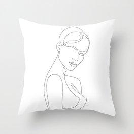 Shy Portrait Throw Pillow