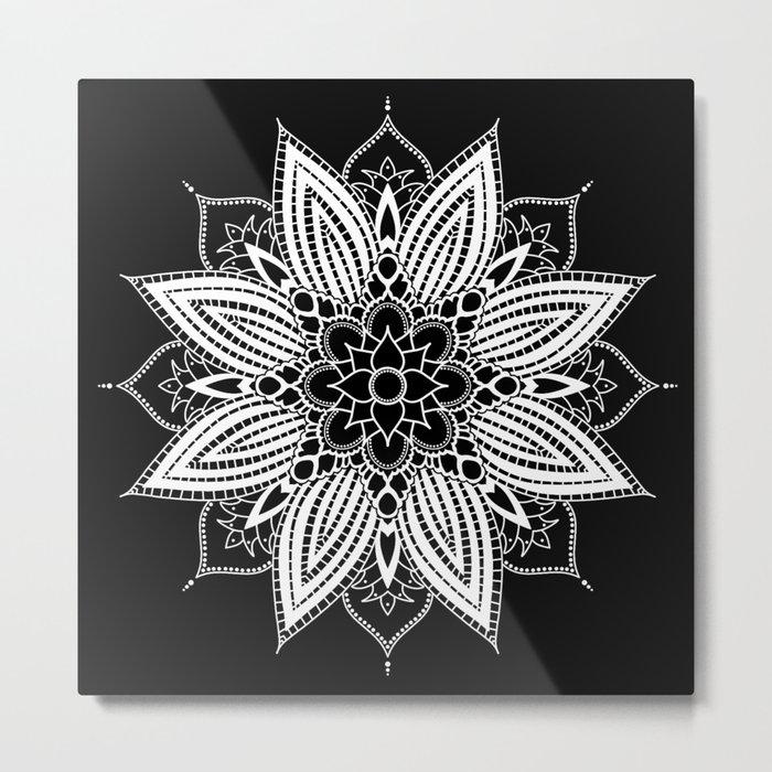 Black and White Flower Mandala Metal Print