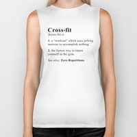 crossfit Biker Tanks featuring Definition of Crossfit by Gym Worthy