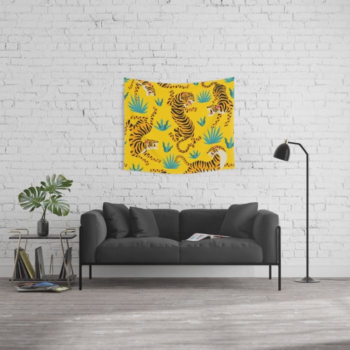 Yellow Tiger Tropical Pattern Wall Tapestry