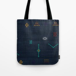 Cactus Silk Pattern in Navy Blue Tote Bag