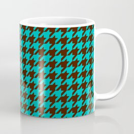 Turquoise Blue Brown Houndstooth Pattern Coffee Mug