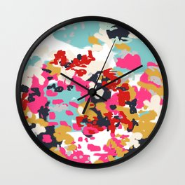 Inez - Modern Abstract painting in bold colors for trendy modern feminine gifts ideas  Wall Clock