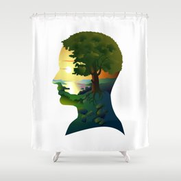human nature, inner space of a portrait Shower Curtain