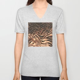 Macro Copper Abstract Unisex V-Neck