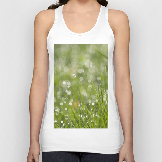 Fresh green meadow - Green grass with waterdroplets sparkling in the sun on #Society6 Unisex Tank Top