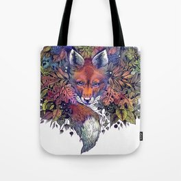 Hiding fox rainbow Tote Bag