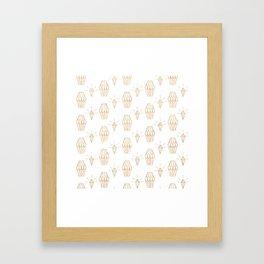 White gold faux glitter elegant diamond geometrical Framed Art Print