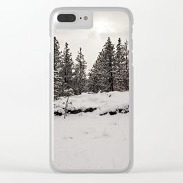 trees in the snow Clear iPhone Case