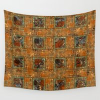 floral pattern Wall Tapestries featuring Floral pattern by dominiquelandau