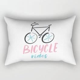 Bicycle rides. Bright colored lettering. Rectangular Pillow