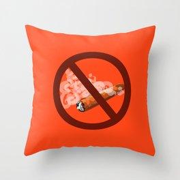 antitobacco, prohibition to smoke cigars Throw Pillow