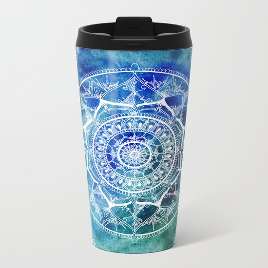White Circle Mandala on Blue Watercolour Metal Travel Mug