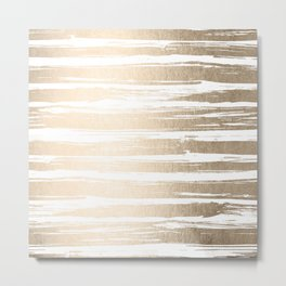 White Gold Sands Painted Stripes Metal Print