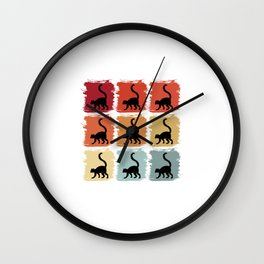 Retro Pop Art Lemur Primate Gift Idea Wall Clock