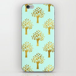 Mint Gold Foil 02 iPhone Skin