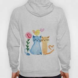 Water painting - cats, bird, heart and rose Hoody