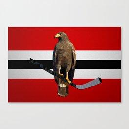 Polyhawk on Stripes Canvas Print