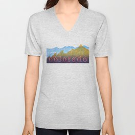 Colorado Mountain Boulder Flat Irons and Continental Divide Unisex V-Neck