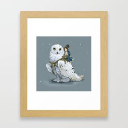 Anaé & Harfang, Winter Fairy and her Snowy Owl  Framed Art Print