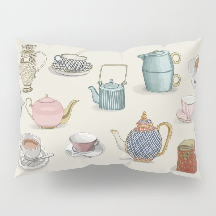 Vintage Teacups and Teapots Pillow Sham