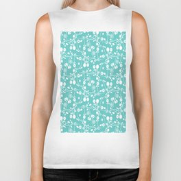 Turquoise Blue Floral Pattern Biker Tank